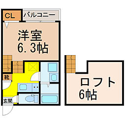 愛知県名古屋市中村区中村中町1丁目の賃貸アパートの間取り