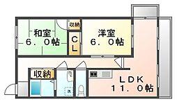 香川県高松市栗林町3丁目の賃貸マンションの間取り