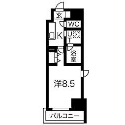 名古屋市営桜通線 国際センター駅 徒歩10分の賃貸マンション 2階1Kの間取り