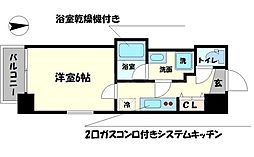 Osaka Metro御堂筋線 本町駅 徒歩5分の賃貸マンション 8階1Kの間取り