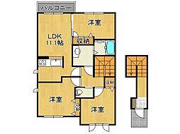 奈良県五條市二見4の賃貸アパートの間取り