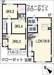 [タウンハウス] 愛知県名古屋市名東区新宿2丁目 の賃貸【/】の間取り
