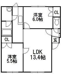 学田山ハウス[2階]の間取り