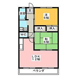 ガーデンロイヤル B棟[2階]の間取り