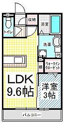 長野県長野市若里3丁目の賃貸アパートの間取り