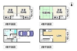 近鉄南大阪線 針中野駅 徒歩15分 4LDKの間取り