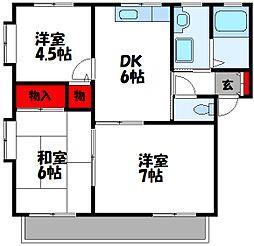 福岡県飯塚市伊岐須の賃貸アパートの間取り