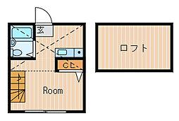 ハーミットクラブハウス峰岡A[2階]の間取り