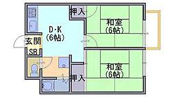 ユニメント林[2階]の間取り