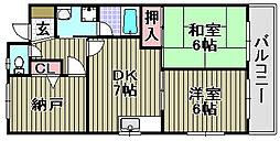 アジュールKIX 3階3DKの間取り