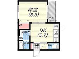 ドエル城ケ堀FAIN 3階1DKの間取り