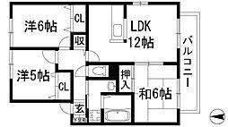 兵庫県伊丹市池尻5丁目の賃貸アパートの間取り