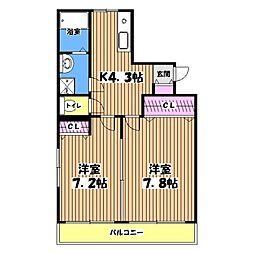 クレアーレ小作[4階]の間取り