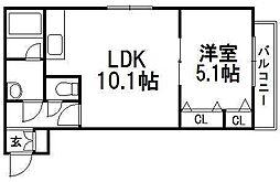 北海道札幌市西区二十四軒一条4丁目の賃貸マンションの間取り