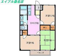 三重県桑名市大字東方の賃貸アパートの間取り