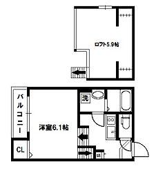 大阪府大阪市西淀川区姫島2丁目の賃貸アパートの間取り