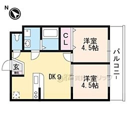 SAKURA VILLAGE 2階2DKの間取り