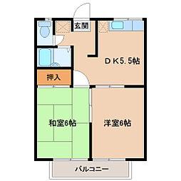 埼玉県坂戸市山田町の賃貸アパートの間取り