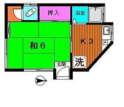 東京都杉並区下高井戸4丁目の賃貸アパートの間取り