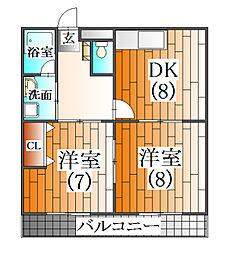 兵庫県三田市中町の賃貸マンションの間取り