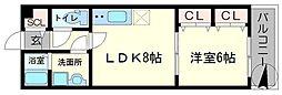 ラ・フェスタ豊津[3階]の間取り