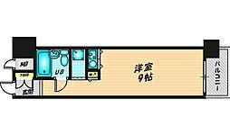朝日プラザ梅田II 1階ワンルームの間取り