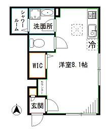 JR総武線 東中野駅 徒歩7分の賃貸アパート 1階ワンルームの間取り