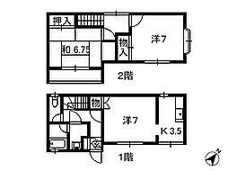 千葉県千葉市花見川区検見川町の賃貸アパートの間取り