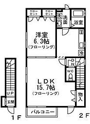 神奈川県横浜市南区中里1丁目の賃貸アパートの間取り