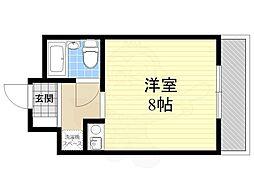 阪急千里線 千里山駅 徒歩14分の賃貸マンション 1階ワンルームの間取り