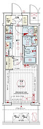 Osaka Metro千日前線 阿波座駅 徒歩5分の賃貸マンション 6階1Kの間取り
