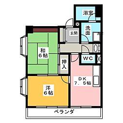 グリーンクレスト杁中 N棟[3階]の間取り