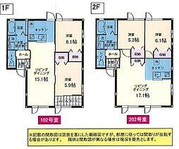 JR奥羽本線 山形駅 バス30分 東北中央病院前下車 徒歩3分の賃貸アパート 1階2LDKの間取り