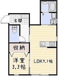 福岡県北九州市小倉北区砂津3丁目の賃貸アパートの間取り
