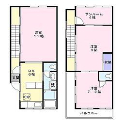 [テラスハウス] 神奈川県横浜市磯子区森3丁目 の賃貸【/】の間取り