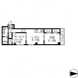 HERITAGE徳庵(ヘリテージ)[304号室号室]の間取り