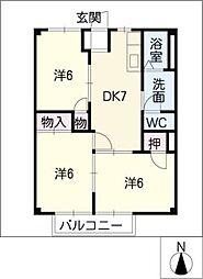 ポアソン・ボワール B棟[2階]の間取り