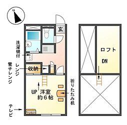 愛知県東海市富木島町前田面の賃貸アパートの間取り