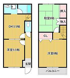 [テラスハウス] 静岡県浜松市東区有玉西町 の賃貸【静岡県 / 浜松市東区】の間取り