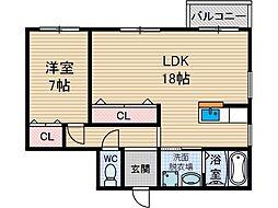 オークヴィラ1号[1階]の間取り