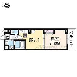 JR奈良線 新田駅 徒歩6分の賃貸アパート 1階1DKの間取り