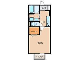 和歌山県和歌山市善明寺の賃貸アパートの間取り