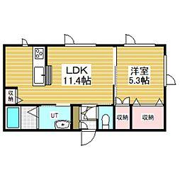 仮)拓勇西町新築AP 1階1LDKの間取り