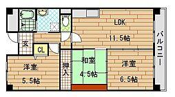 アンドユーイワキ東大阪[9階]の間取り