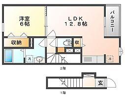 岡山県岡山市北区北長瀬本町の賃貸アパートの間取り