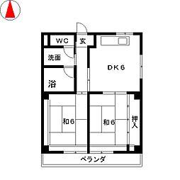 マンション服部[4階]の間取り