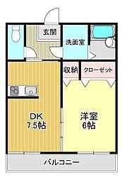 ヒロックスビル 4階1DKの間取り