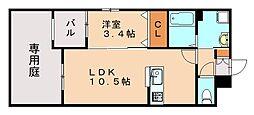 フォレストヒルズ博多 1階1LDKの間取り