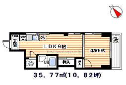ラウンドブリッジ[303号室]の間取り