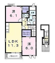 サザンアルミュールB[2階]の間取り